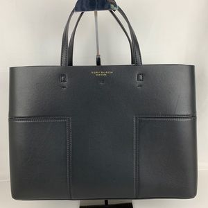 New Tory Burch Block-T Black Leather Tote